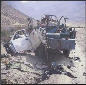 Truck destroyed by Hellfire missile strike in Afghanistan
