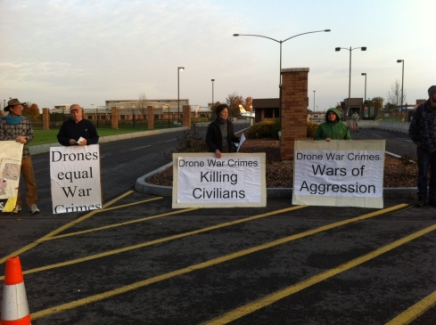 Drone protesters at Hancock