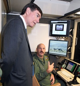 Defence Minister Philip Dunne inspects new Reaper Ground Control Station at RAF Waddington Dec 2012