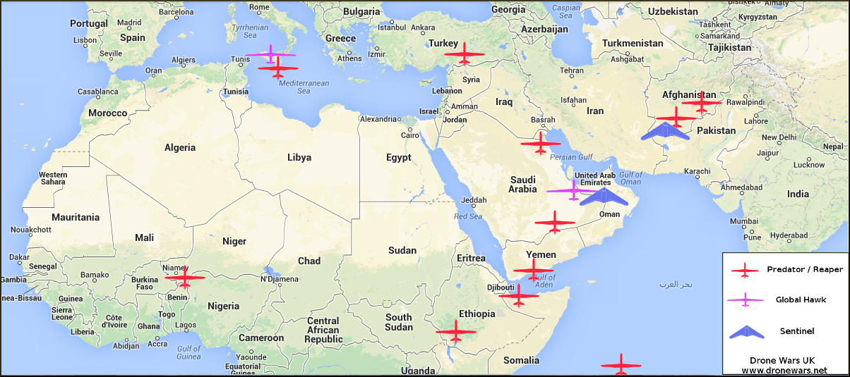 Where Are British Reaper Drones Heading After Afghanistan - Us bases around the world map
