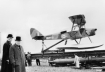 Winston Churchill at launch of De Havilland Queen Bee drone 1941.  Copyright Imperial War Museum