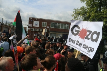 Hundreds protested outside the factory on 6 July 2015